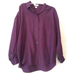 Express 100% Silk Purple Button Down Blouse